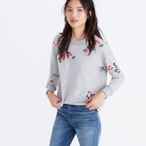 Madewell | Mile (s) Embroidered Cutoff Sweatshirt